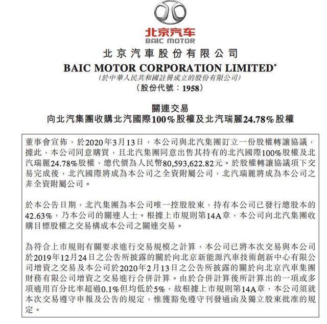 汽车预言家   转让北汽国际、北汽瑞丽股权 北汽集团或为出口海外与研发做准备
